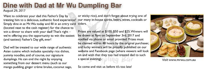 Dine with Dad at Mr. Wu
