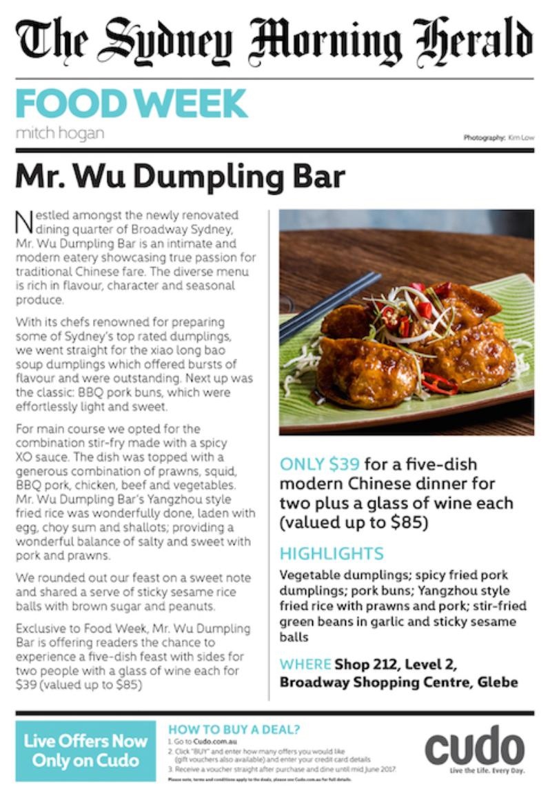 Mr. Wu Dumpling Bar Cudo Deal